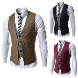 Low price selling new style colorful plaid men's Slim casual vest jacket