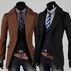 Low price member price discounts single-breasted concise large lapel casual men's woolen coat
