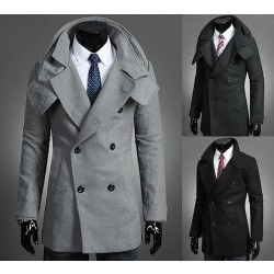 Detachable collar men's fall and winter long style double-breasted coat jacket coat it