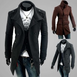 Low price member price discounts badges double-breasted wool coat type Men Men