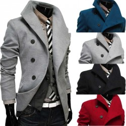 Low price member price discounts oblique placket lapel single-breasted wool coat Men