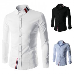 Low price discount men's fashion color of the stitching collar long-sleeved Slim Shanshan