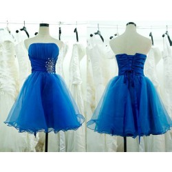 The new style of blue evening dress short style low-cut mini dress performance dress toast clothing bridesmaid dress