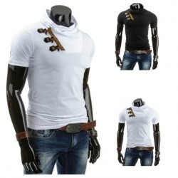 Low price discounts heap horn button collar fashion casual short-sleeved t-shirt design