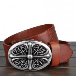 Brand of high-end men's belt men first layer of leather belt wild retro leather belt
