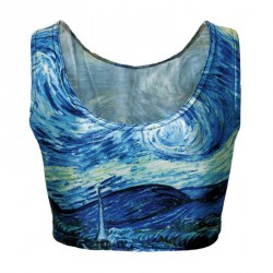 Europe and the US sales market hot personality Van Gogh paintings prints half lo shi breathable low-cut vest fitness sleeveless blouse