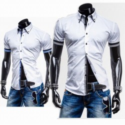 Fashion Houndstooth decoration low price cotton casual men's short-sleeved shirt Slim