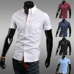Fashion ribbon decoration low price cotton casual men's short-sleeved shirt Slim