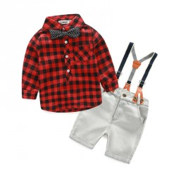 Fast delivery low price children's clothing colorful cotton plaid shirt England style suit pants suit cowboy bibs discounts