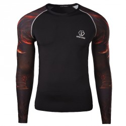 High elastic quick-drying breathable wicking sports men's long-sleeved t-shirt printing jersey Fitness