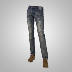 Low price new style hole cat's whiskers popular in Europe and the United States men's fashion jeans market style grid
