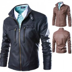 Fall Winter Men's new style hot trend leather jacket washed leather collar leather U