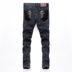 New style popular mens jeans stitching decorative buttons feet Slim Mens Jeans Fall