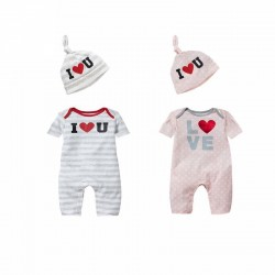 Boys and girls dot striped jumpsuit piece coveralls pine hat fast shipping low price baby clothing