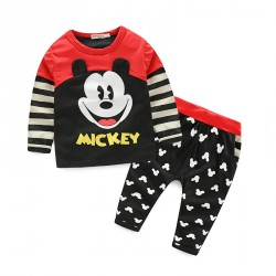 Fast delivery boy Spring and Autumn new models Mickey pattern boys two piece suit long-sleeved pants suit Promotions