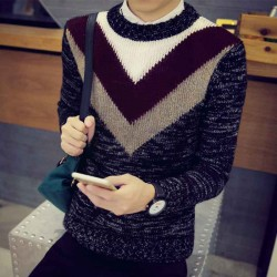 Fall Winter new style mens sweater thick mohair sweater round neck sweater bottoming shirt