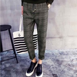 Fall Winter new style mens trousers cotton wool plaid pants fashion harem pants fast delivery