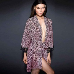 The new style pink leopard print long-sleeved cardigan hollow sleeve lace gown pajamas 22322