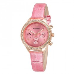 Popular fashion girl leather watch with diamond watches fashion quartz material with rapid sales promotion