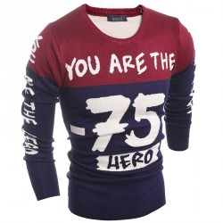 Autumn new low price of digital printing quality men round neck sweater knit all matches