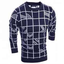 Low price new autumn and winter fashion casual plaid design Men Tee knit pullover