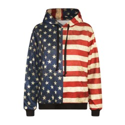 Autumn and winter new models in Europe and the US market digital printing Women yards shirt American flag simple hooded sweater