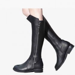 France top material spring and winter new style ladies flat boots leather quality high to help low to help long plus velvet inside thick cotton boots