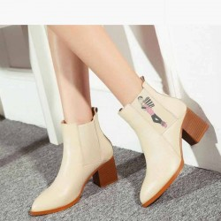 Ms. autumn and winter new style leather boots fashion trends all matching boots thick high-heeled pointed boots Martin boots single