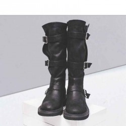 Popular autumn and winter new style ladies leather boots European market and the US market flat boots Martin boots casual slim Quality Assurance