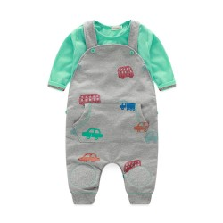 Fast shipping low price men's clothing small infants and young cars pattern printing cotton bibs pants suit discount Spring