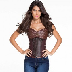 Aristocratic style jeans brown 12 steel punk style vest tight waist pants chest plastic waist belt body sculpting clothes 5415