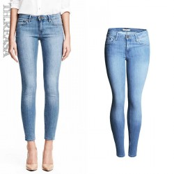 Europe station new models in the super-stretch cotton elastic waist pencil pants Slim narrow feet washed jeans Slim