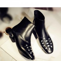 Ms. autumn and winter popular leather boots low to help the child short boots Martin European market and the US market fashion lady flat boots single boots