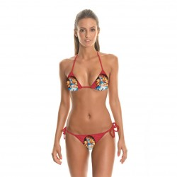 European market and the US market a new style 3D cartoon prints string bikini beach sexy gather split two-piece swimsuit