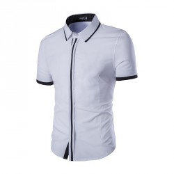 Low price selling casual clean colorful men cultivating short-sleeved shirt