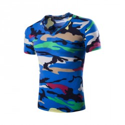 Low price selling men's summer new camouflage multicolor V-shaped neck short sleeve camouflage t-shirt