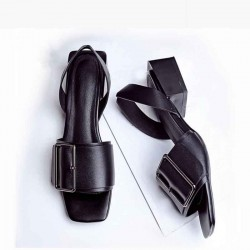 Member price summer new style fashion casual low-heeled sandals thick with square buckle leather ladies sandals