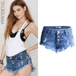 Beard fringed cowboy European stations European market and the US market cat spring and summer irregular low waist shorts shorts
