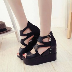 Promotional discount European market and the US market hollow open-toed wedge sandals summer shoes lady thick heel super high-heeled shoes with thick shoes