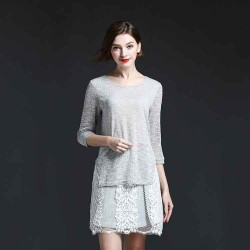 All models in Europe station summer thin sweater new style minimalist gray shirt stitching lace shirt
