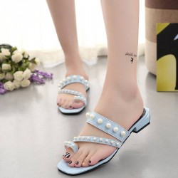 Europe station summer sandals sexy sandals color pearl low-heeled Toe strap flat sandals and slippers Ms.