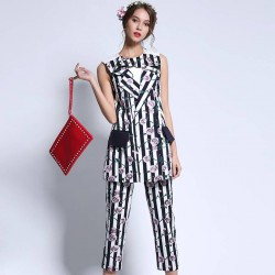 Autumn new models round neck sleeveless vest dress Ms. Jacquard stripes on the trouser suit vest