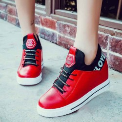 Autumn shoes red black and white multicolored wedge casual shoes casual shoes Miss Gao Gendi internal high-top casual shoes