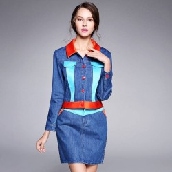 Autumn new style short denim jacket style sexy two-piece package hip skirt colorful skirt cowboy suit Ms.