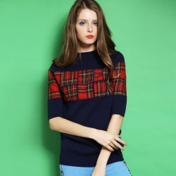Autumn new models in Europe and the US market all the matching patch Slim round neck sweater simple t-shirt Blouse