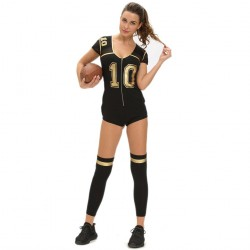 Football sports apparel black collar short-sleeved V-shaped front zipper two suits fitted jumpsuit socks 8964