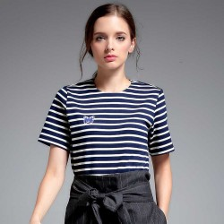Autumn new models in Europe and the US market fashion all match fashion Slim small striped cotton shirt