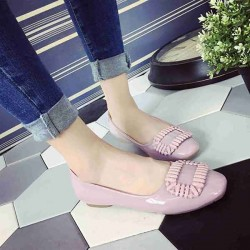 Amoi ladies fashion leather flat shoes with flat shoes style, Ms. Lu instep square head flat shoes soft soled shoes