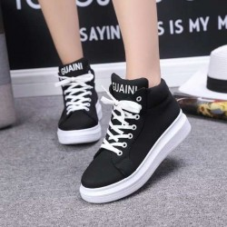 16 new autumn show high-top lace casual flat boots with thick Ms. SHOES athletic shoes sneakers shoes student