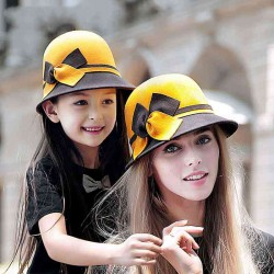 The new style autumn and winter wool hat lady material European market and the US market all the matching hat winter hat fisherman hat and her daughter paternity